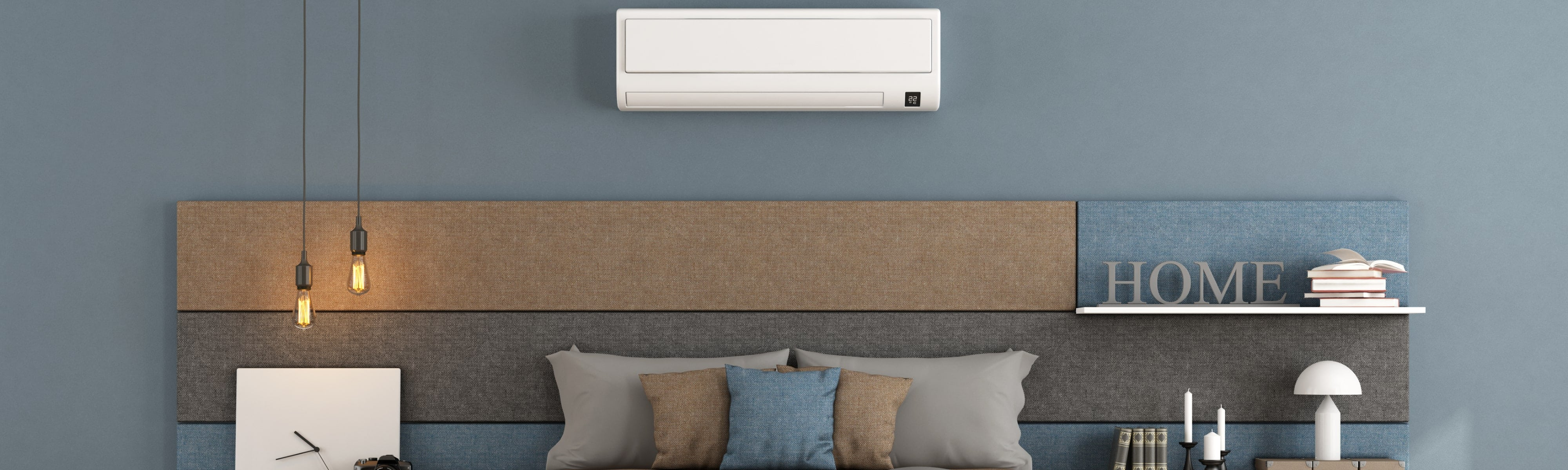 Ductless air conditioner over bed.