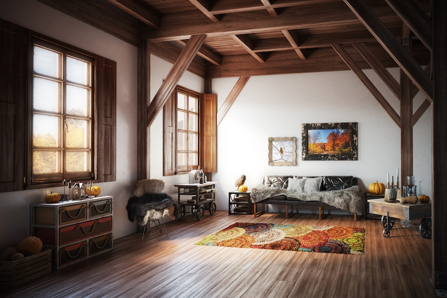 Cozy living room after improved fall indoor air quality in home