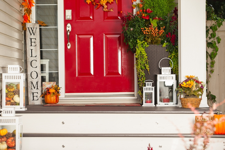 Fall outdoor decorations showing the importance of scheduling your fall HVAC maintenance