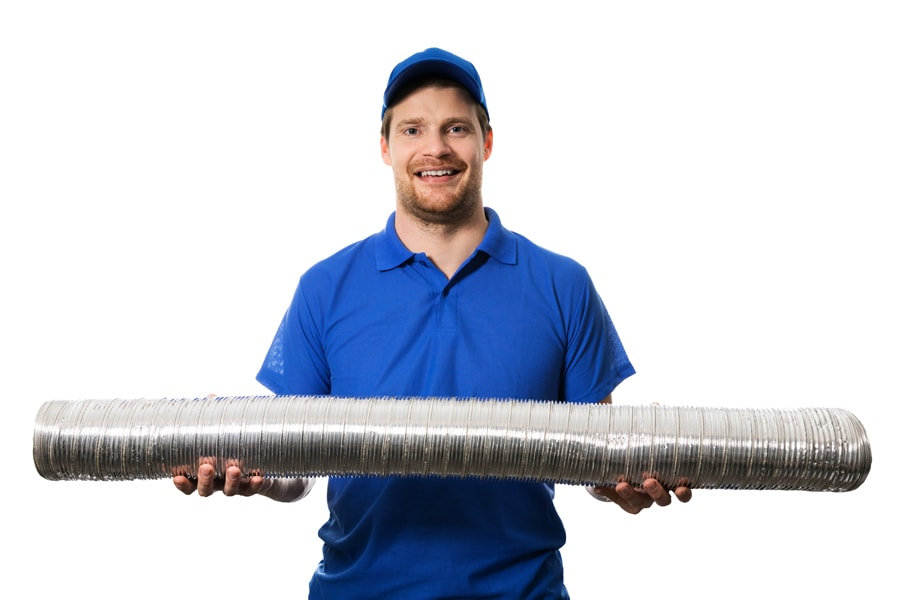 HVAC worker with flexible ventilation system tube in hands. How do I know it's time for a new furnace?